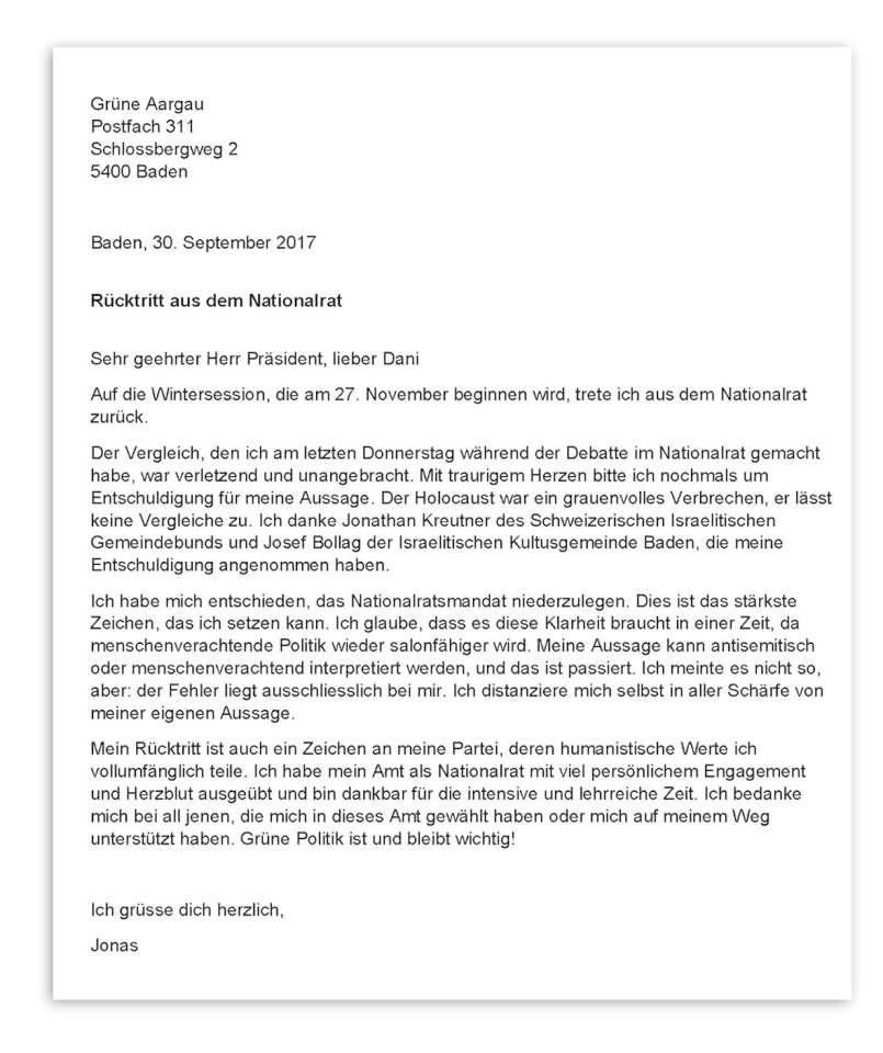 Jonas Fricker tritt zurück